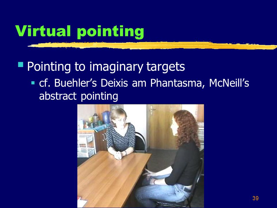 39 Virtual pointing  Pointing to imaginary targets  cf.