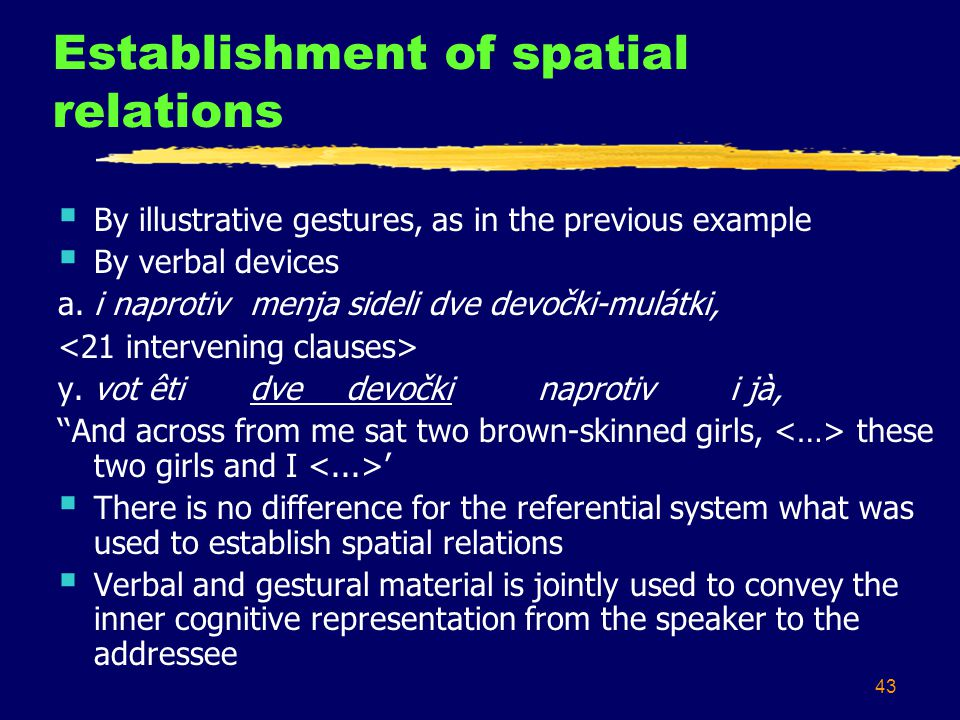 43 Establishment of spatial relations  By illustrative gestures, as in the previous example  By verbal devices a.