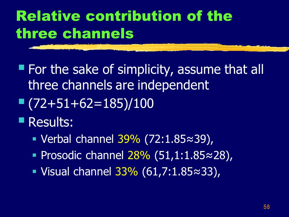 58 Relative contribution of the three channels  For the sake of simplicity, assume that all three channels are independent  (72+51+62=185)/100  Results:  Verbal channel 39% (72:1.85≈39),  Prosodic channel 28% (51,1:1.85≈28),  Visual channel 33% (61,7:1.85≈33),