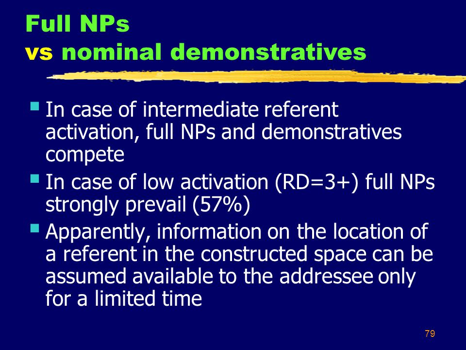 79  In case of intermediate referent activation, full NPs and demonstratives compete  In case of low activation (RD=3+) full NPs strongly prevail (57%)  Apparently, information on the location of a referent in the constructed space can be assumed available to the addressee only for a limited time Full NPs vs nominal demonstratives