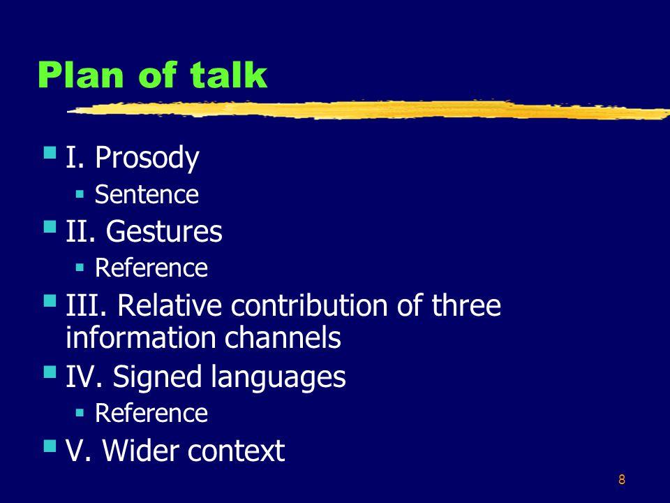 8 Plan of talk  I.Prosody  Sentence  II. Gestures  Reference  III.
