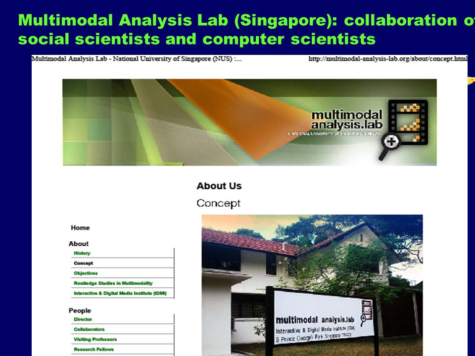 88 Multimodal Analysis Lab (Singapore): collaboration of social scientists and computer scientists