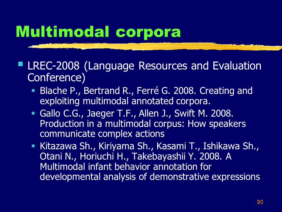 90 Multimodal corpora  LREC-2008 (Language Resources and Evaluation Conference)  Blache P., Bertrand R., Ferré G.