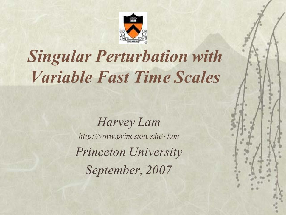 Singular Perturbation with Variable Fast Time Scales Harvey Lam http://www.princeton.edu/~lam Princeton University September, 2007