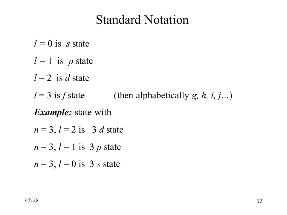 Ch 28 13 Standard Notation l = 0 is s state l = 1 is p state l = 2 is d state l = 3 is f state (then alphabetically g, h, i, j…) Example: state with n