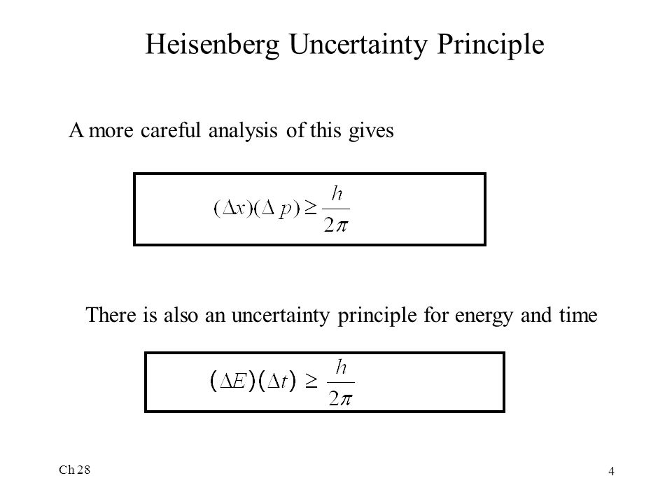 Ch 28 4 Heisenberg Uncertainty Principle A more careful analysis of this gives There is also an uncertainty principle for energy and time