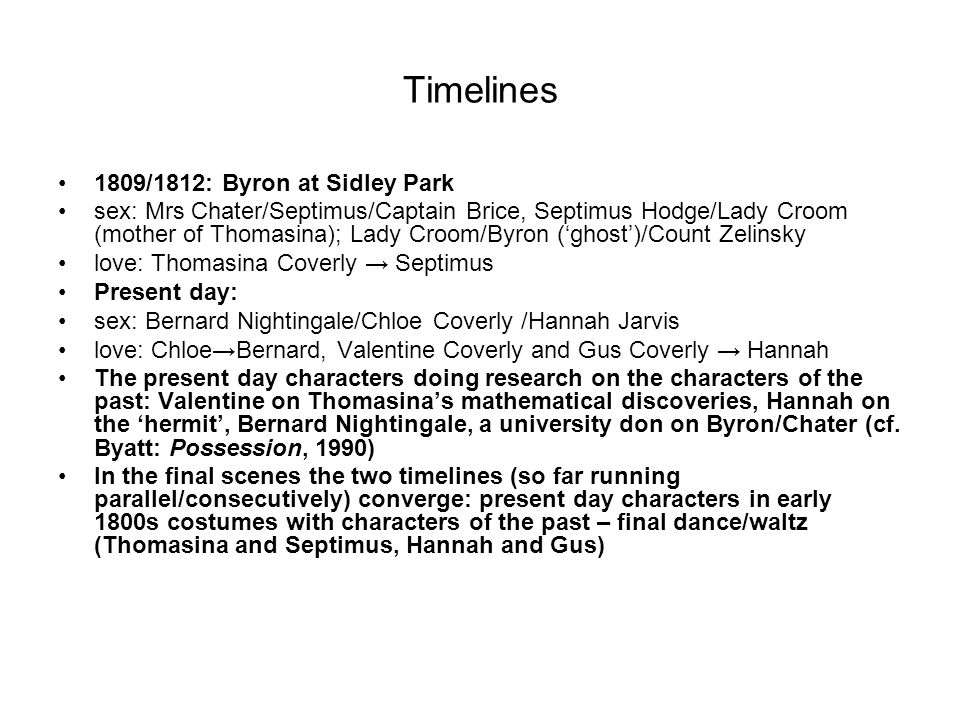 Timelines 1809/1812: Byron at Sidley Park sex: Mrs Chater/Septimus/Captain Brice, Septimus Hodge/Lady Croom (mother of Thomasina); Lady Croom/Byron ('