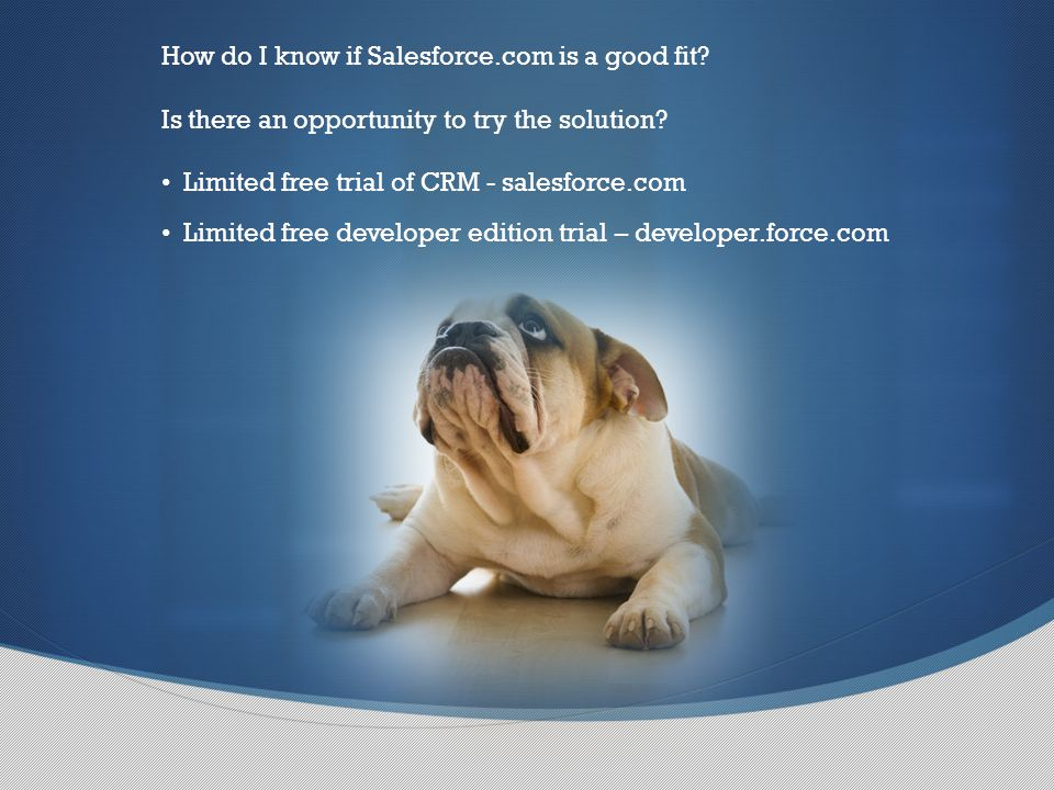 How do I know if Salesforce.com is a good fit. Is there an opportunity to try the solution.