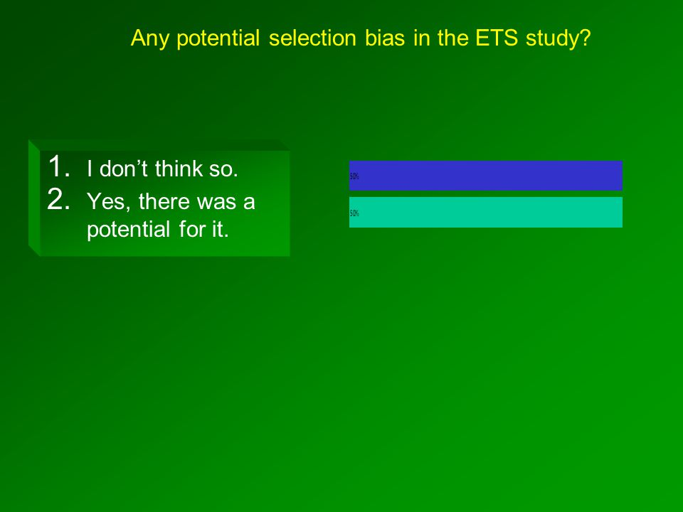 Any potential selection bias in the ETS study. 1.