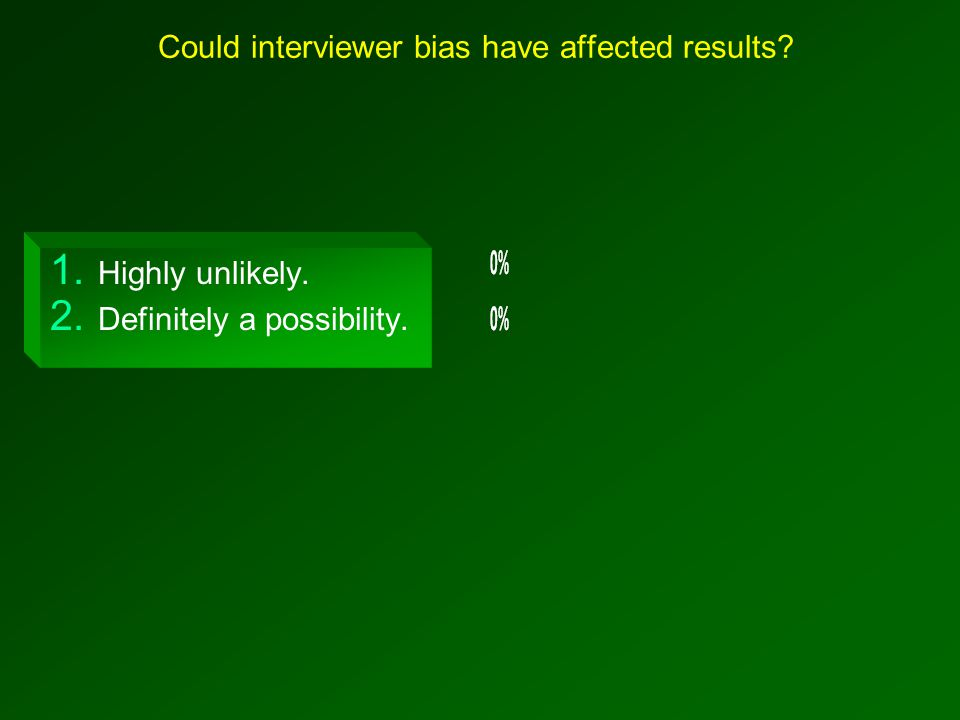 Could interviewer bias have affected results? 1. Highly unlikely. 2. Definitely a possibility.