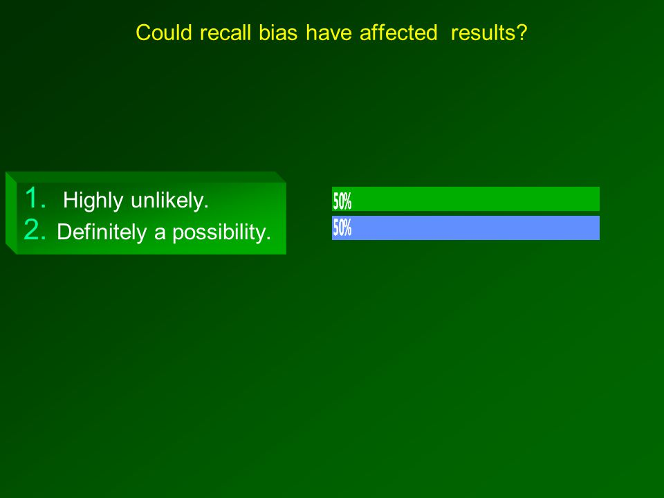 Could recall bias have affected results 1. Highly unlikely. 2. Definitely a possibility.