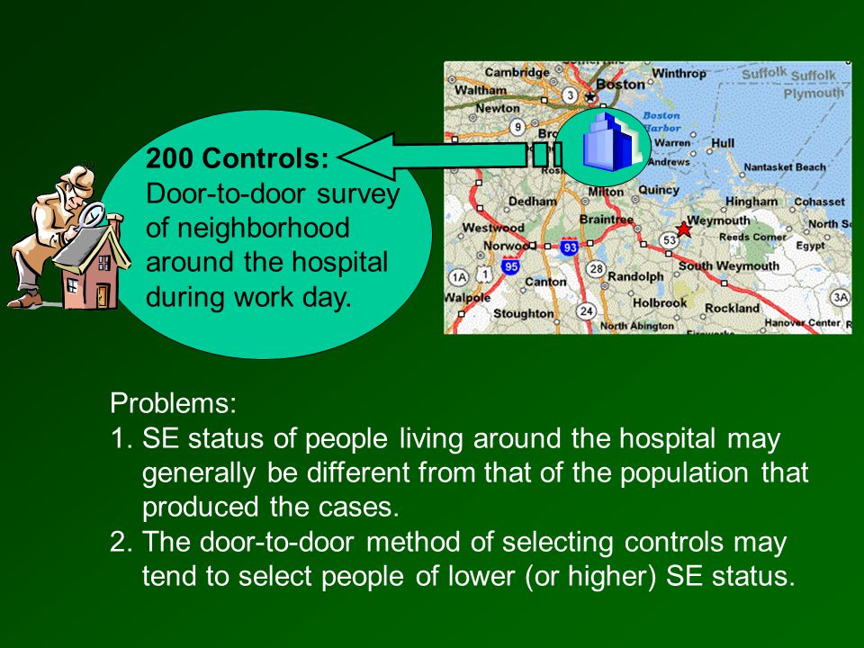 200 Controls: Door-to-door survey of neighborhood around the hospital during work day.