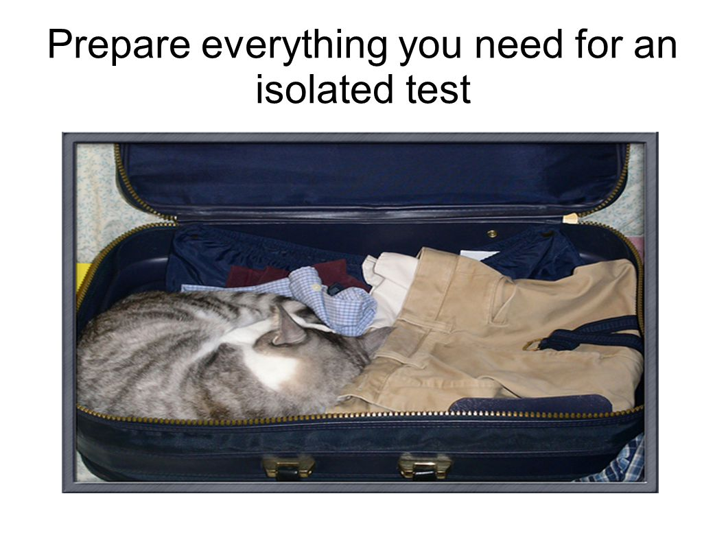 Prepare everything you need for an isolated test