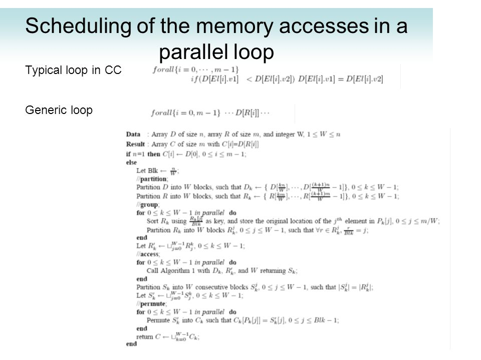 Scheduling of the memory accesses in a parallel loop Typical loop in CC Generic loop