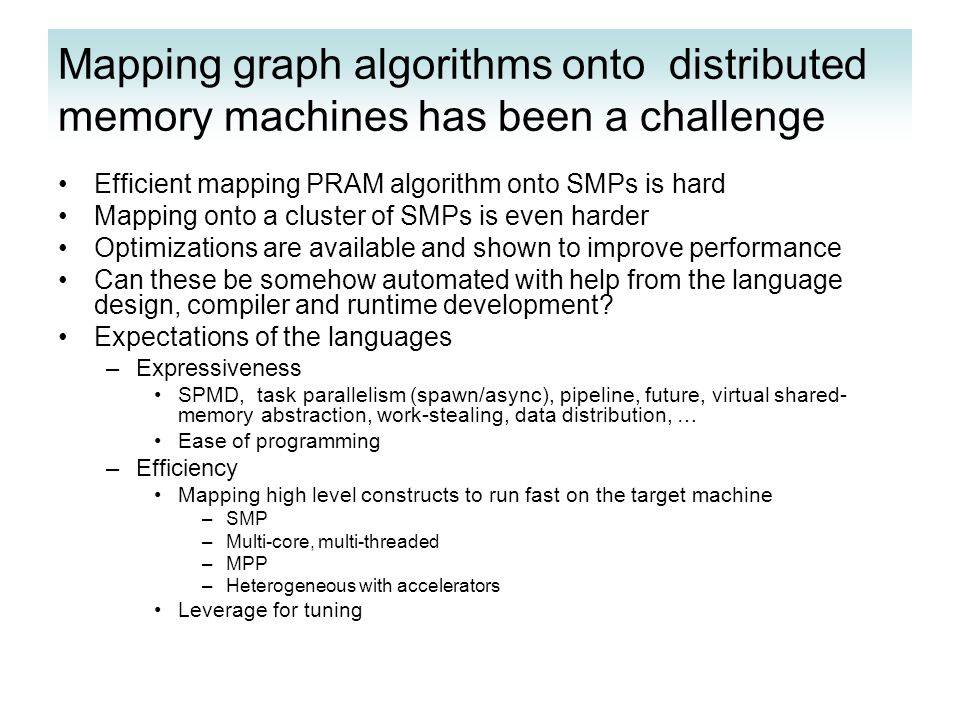 Mapping graph algorithms onto distributed memory machines has been a challenge Efficient mapping PRAM algorithm onto SMPs is hard Mapping onto a cluster of SMPs is even harder Optimizations are available and shown to improve performance Can these be somehow automated with help from the language design, compiler and runtime development.