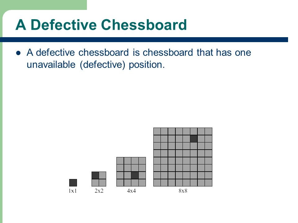 A Defective Chessboard A defective chessboard is chessboard that has one unavailable (defective) position.