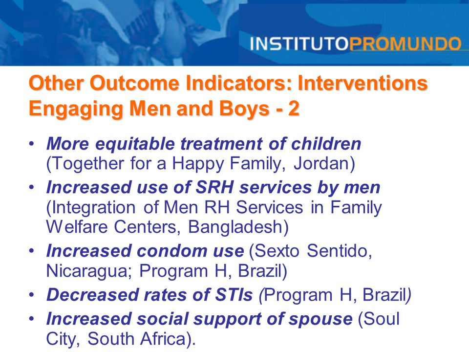 Other Outcome Indicators: Interventions Engaging Men and Boys - 2 More equitable treatment of children (Together for a Happy Family, Jordan) Increased