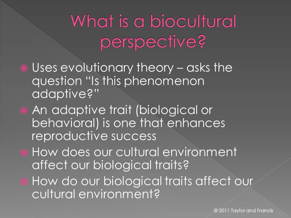  Uses evolutionary theory – asks the question Is this phenomenon adaptive?  An adaptive trait (biological or behavioral) is one that enhances reproductive success  How does our cultural environment affect our biological traits.