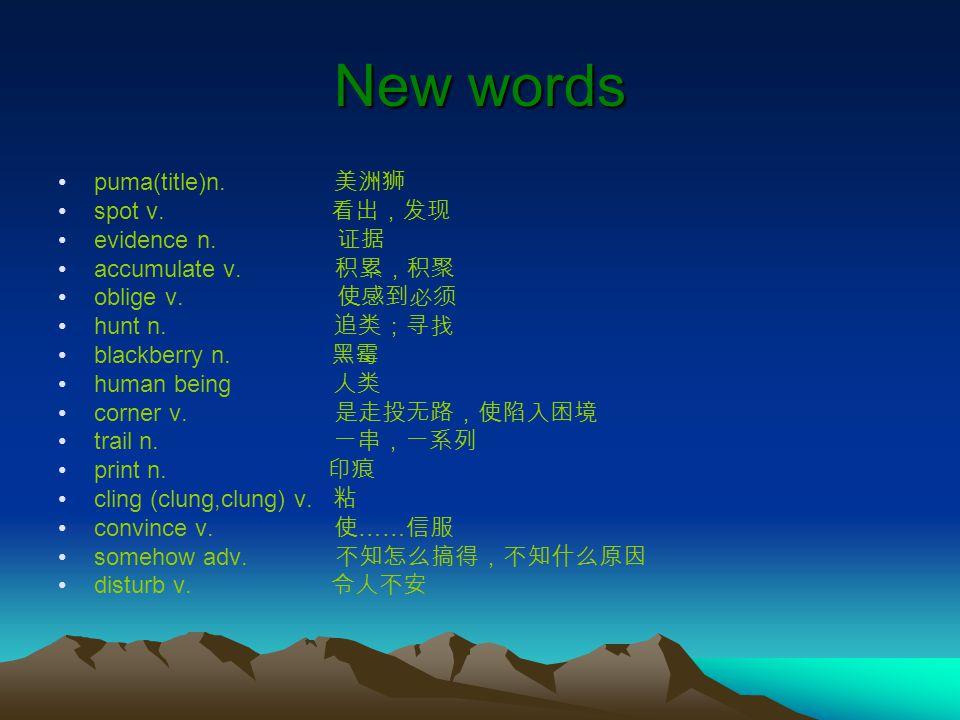New words puma(title)n.美洲狮 spot v. 看出,发现 evidence n.