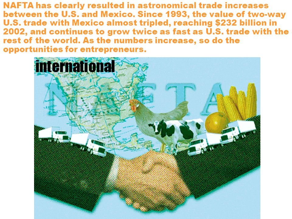 NAFTA has clearly resulted in astronomical trade increases between the U.S.