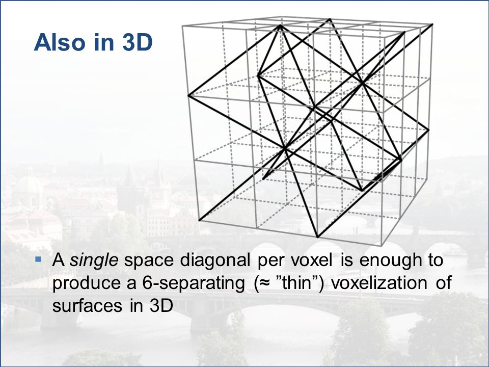 "Also in 3D  A single space diagonal per voxel is enough to produce a 6-separating (≈ ""thin"") voxelization of surfaces in 3D"