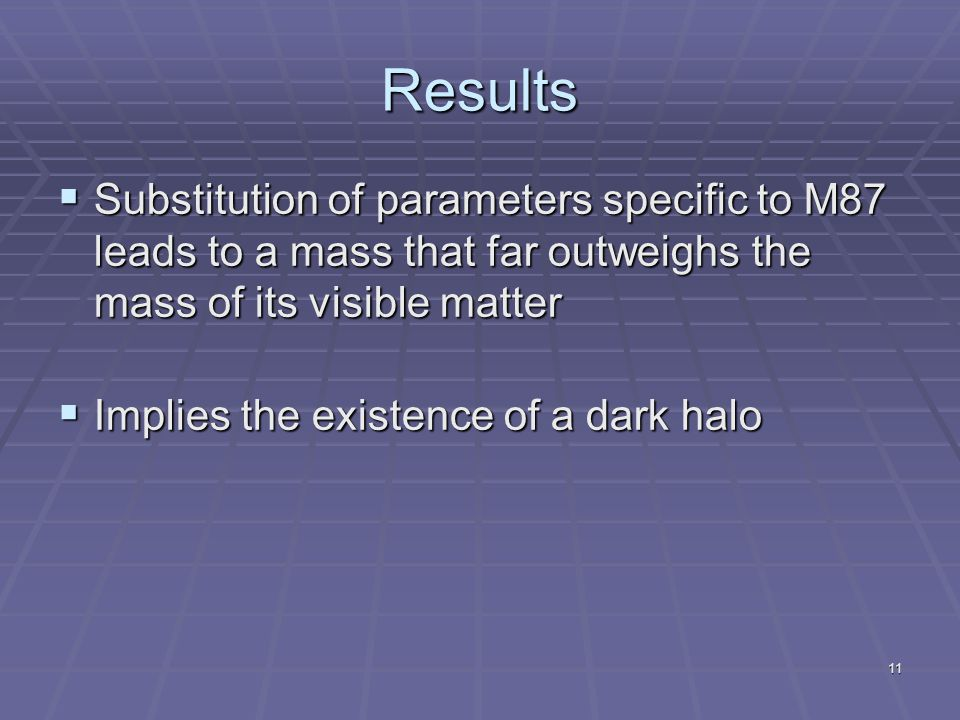 11 Results  Substitution of parameters specific to M87 leads to a mass that far outweighs the mass of its visible matter  Implies the existence of a dark halo