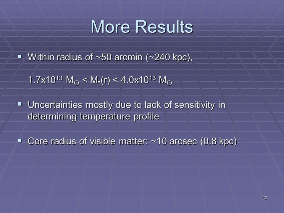 12 More Results  Within radius of ~50 arcmin (~240 kpc), 1.7x10 13 M  < M * (r) < 4.0x10 13 M   Uncertainties mostly due to lack of sensitivity in