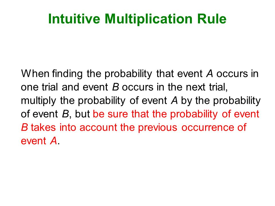 Caution When applying the multiplication rule, always consider whether the events are independent or dependent, and adjust the calculations accordingly.