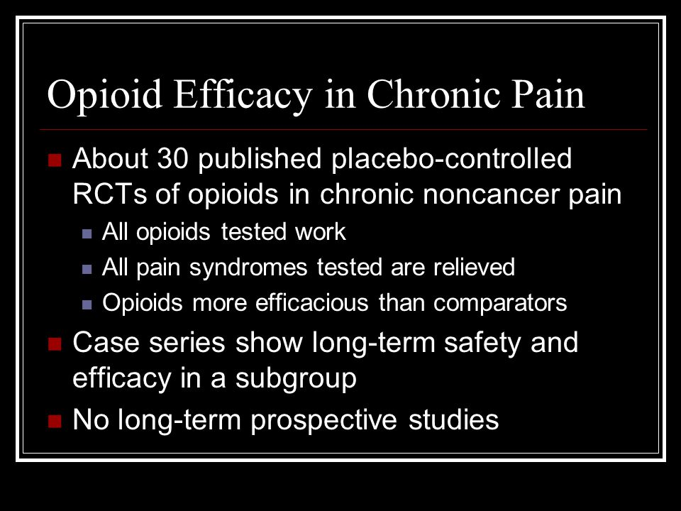 Opioid Tolerance Galer B, et al, Pain, 2005 It is important to note that while the concept of opioid analgesic tolerance has become accepted clinical dogma, development of opioid analgesic tolerance has never been truly assessed in a prospective, long-term controlled fashion in chronic non-cancer pain patients.