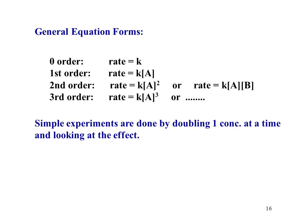15 General form of rate law : RXN orders (w, x, y, and z)must be determined by exp.