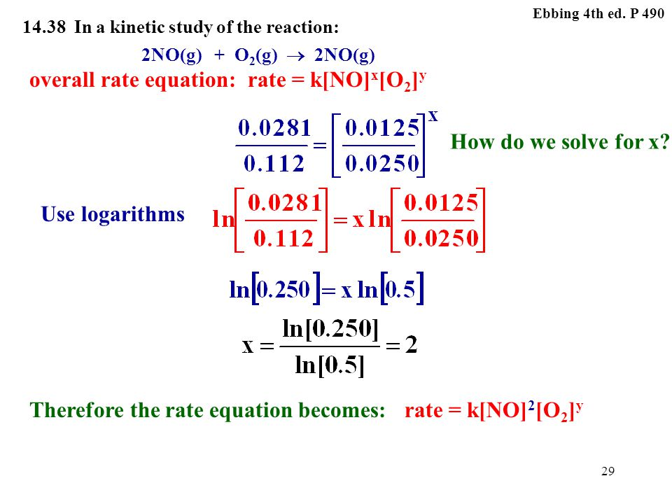 28 Ebbing 4th ed. P 490 14.38 In a kinetic study of the reaction: 2NO(g) + O 2 (g)  2NO(g) overall rate equation:rate = k[NO] x [O 2 ] y How do we so