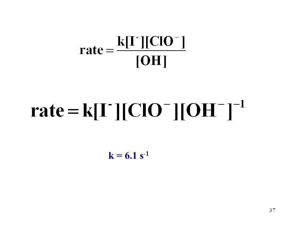 36 Ebbing 4th ed. P 490 14.40 Iodine ion is oxidized to hypoiodite ion, IO -, by hypochlorite ion, ClO -, in basic solution. the following initial rat