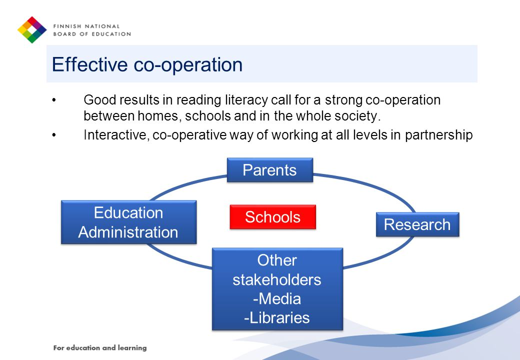 Effective co-operation Good results in reading literacy call for a strong co-operation between homes, schools and in the whole society.
