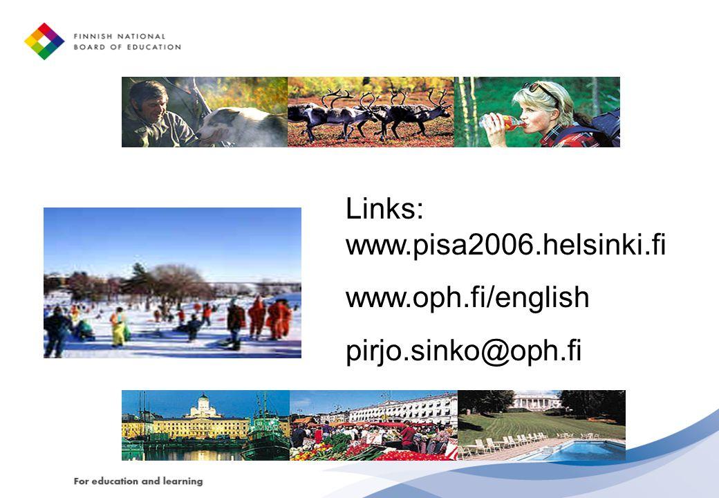 Links: www.pisa2006.helsinki.fi www.oph.fi/english pirjo.sinko@oph.fi