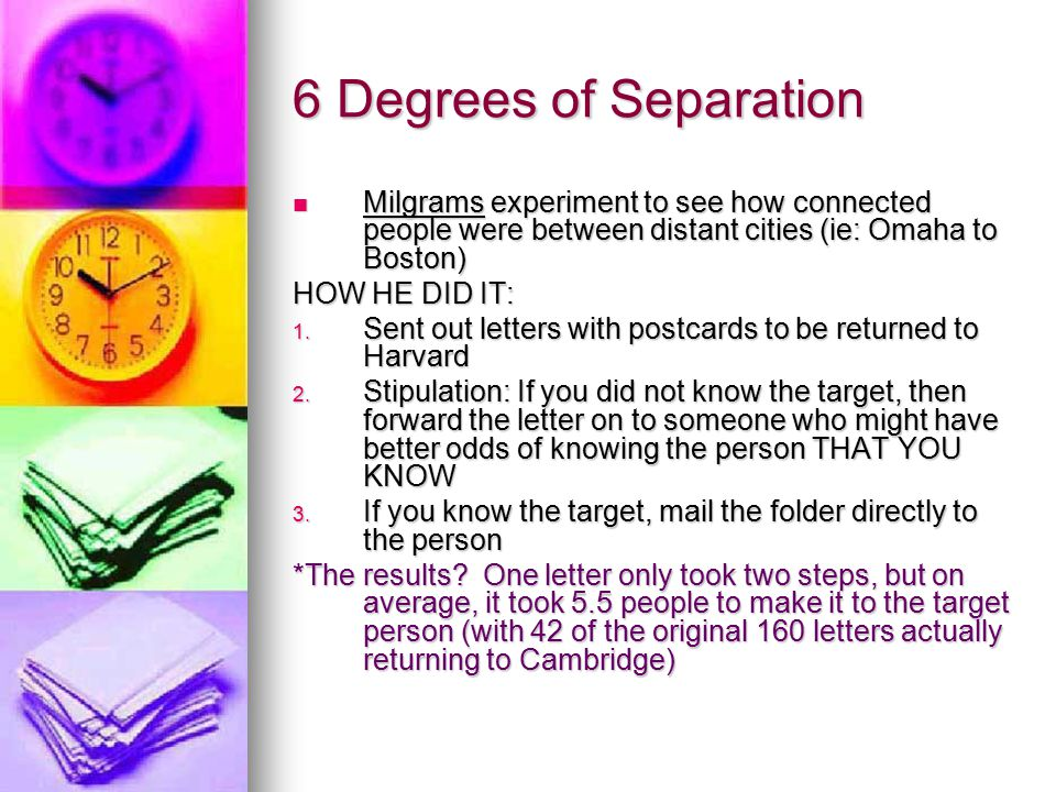 6 Degrees of Separation Milgrams experiment to see how connected people were between distant cities (ie: Omaha to Boston) Milgrams experiment to see how connected people were between distant cities (ie: Omaha to Boston) HOW HE DID IT: 1.