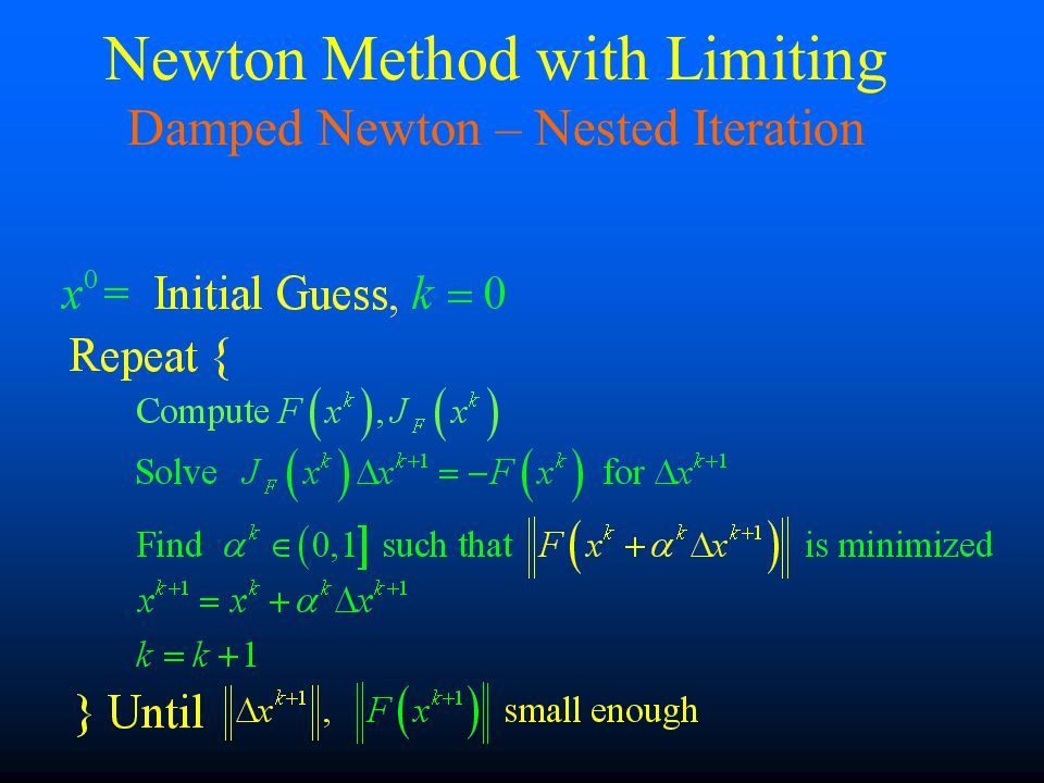 Newton Method with Limiting Damped Newton – Nested Iteration