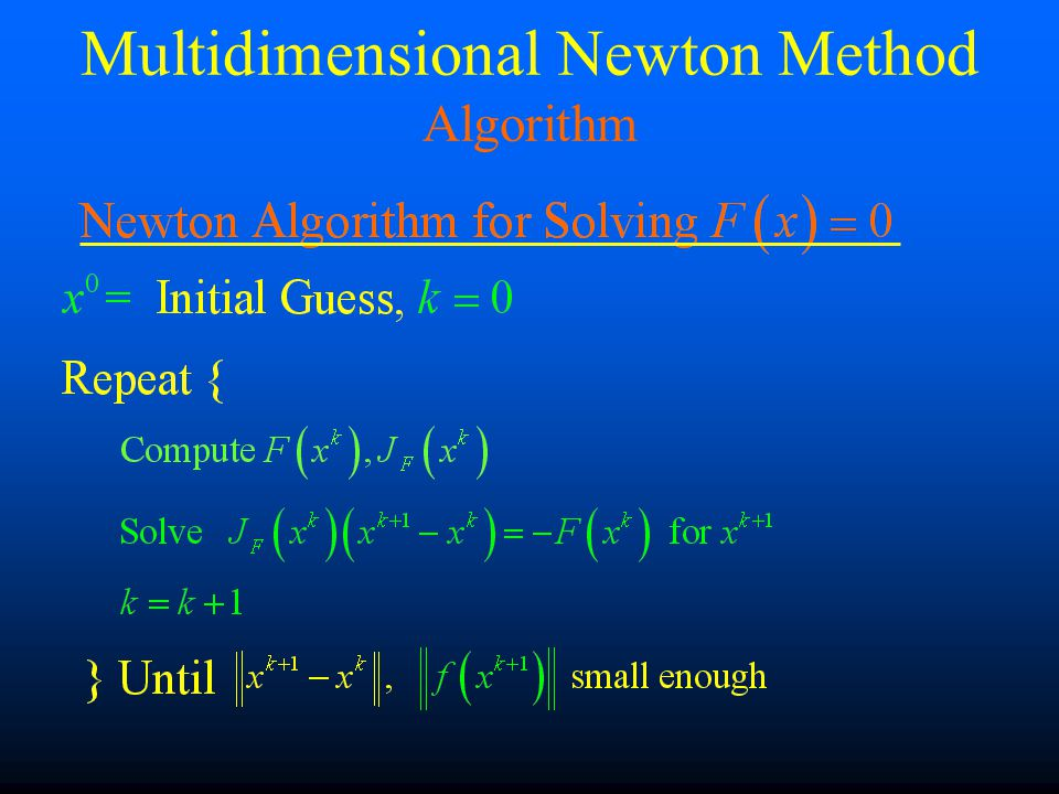 Multidimensional Newton Method Algorithm