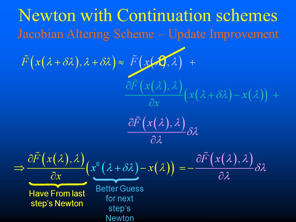 0 Have From last step's Newton Better Guess for next step's Newton Newton with Continuation schemes Jacobian Altering Scheme – Update Improvement