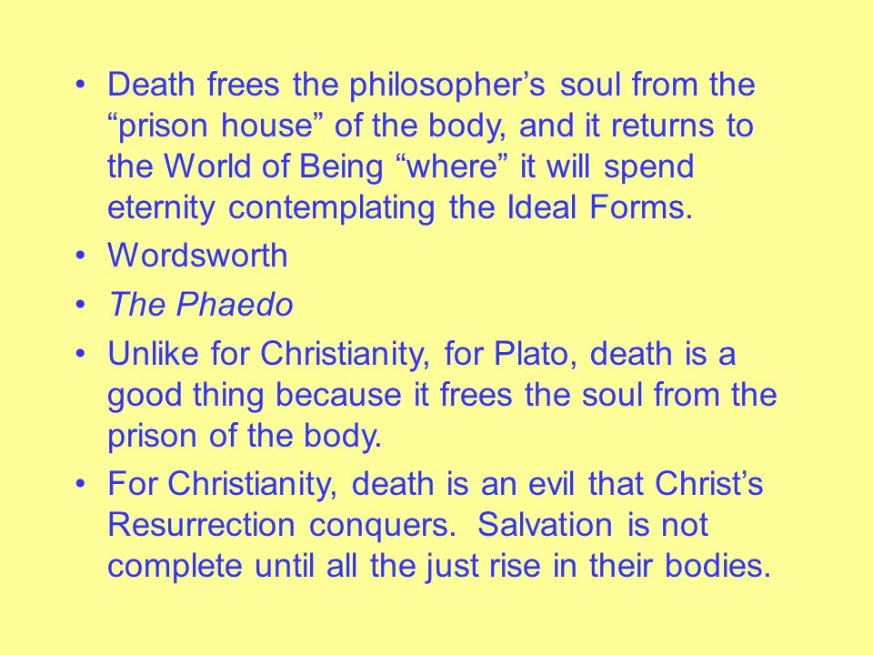 """Pre-existence of the Soul Each person first exists as a soul without a body in the World of Being. Each person's soul somehow gets """"imprisoned"""" in a b"""