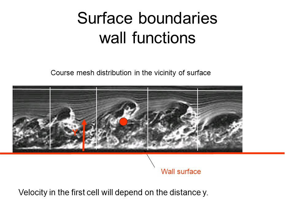 Surface boundaries wall functions Wall surface Velocity in the first cell will depend on the distance y.
