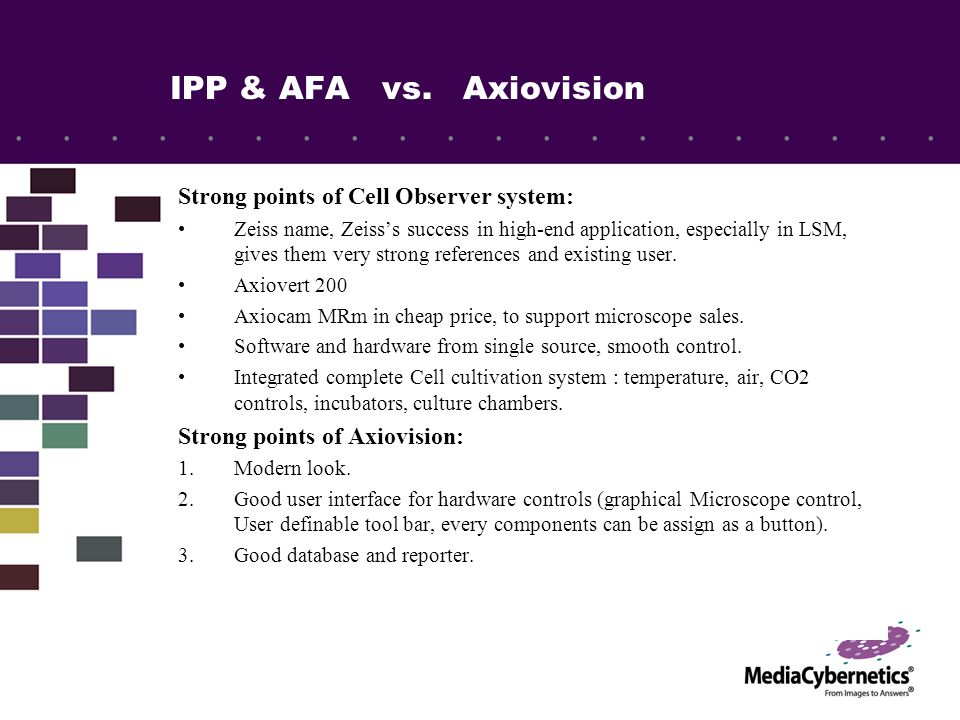 IPP & AFA vs.Axiovision: Where we win 1.Hardware support: MediaCy is very strong here.