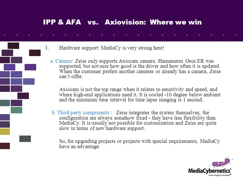 IPP & AFA vs. Axiovision: Where we win 1.Hardware support: MediaCy is very strong here.