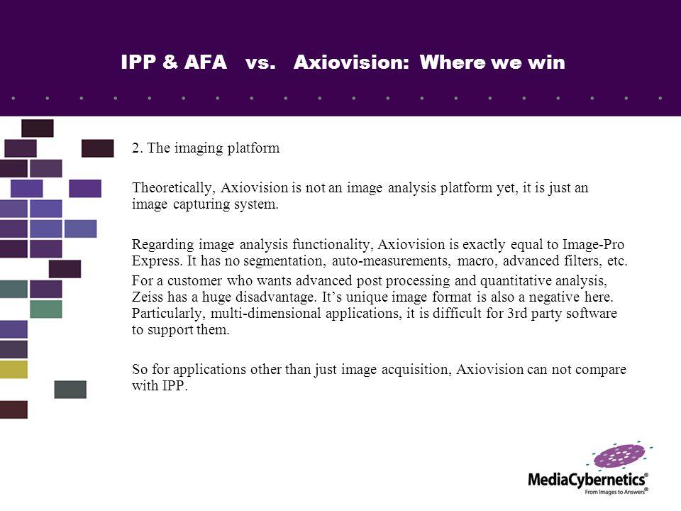 IPP & AFA vs.Axiovision: Modules comparison Axiovision is also built on a modular concept.