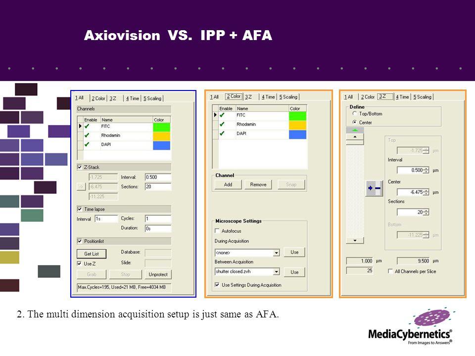 IPP & AFA vs. Axiovision AFA user interface.