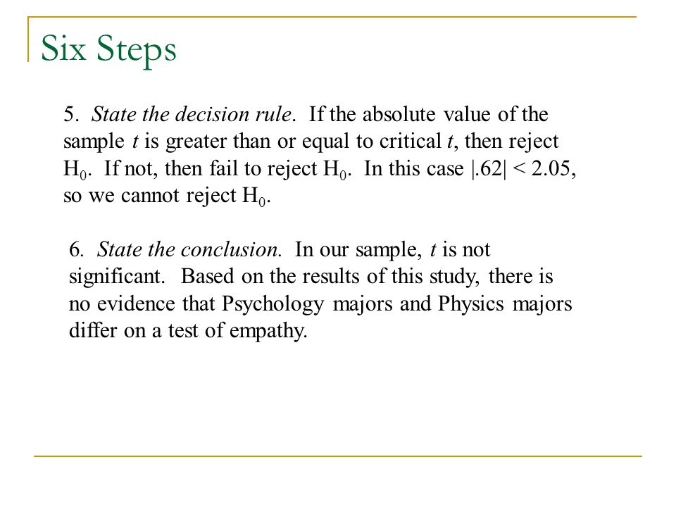 Six Steps 5. State the decision rule.