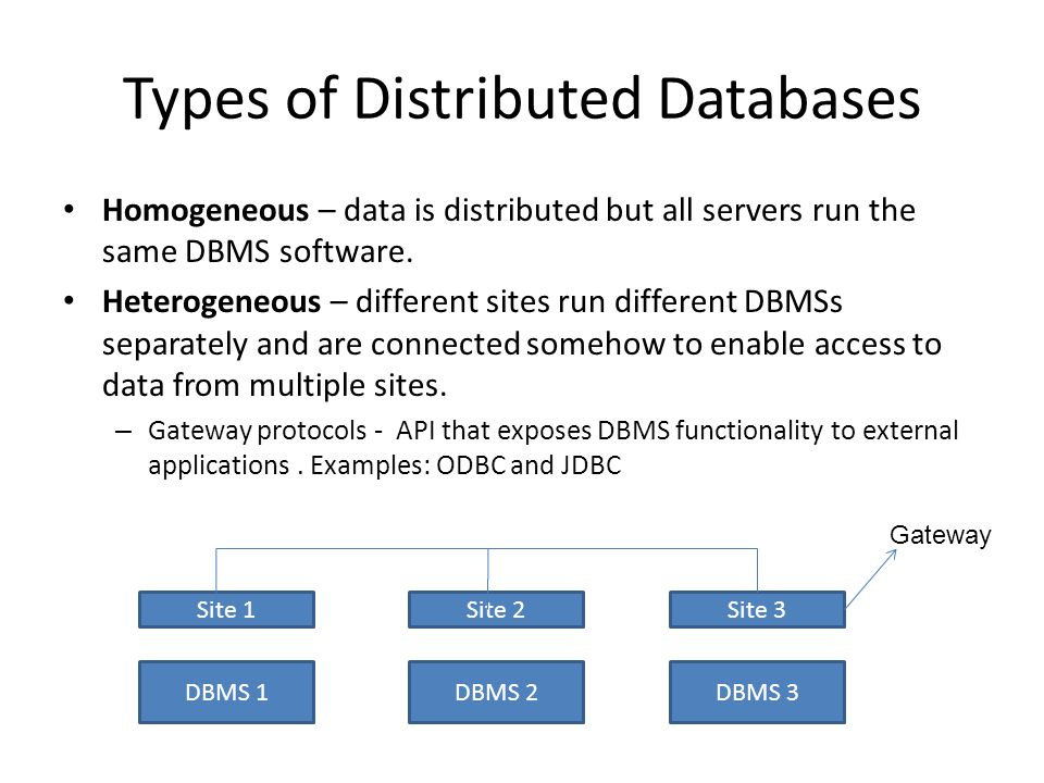 Types of Distributed Databases Homogeneous – data is distributed but all servers run the same DBMS software.