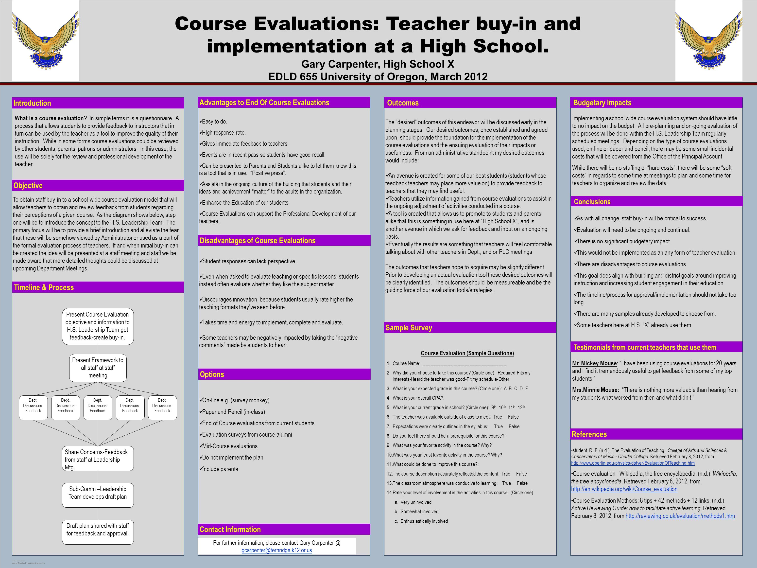 POSTER TEMPLATE BY: www.PosterPresentations.com Course Evaluations: Teacher buy-in and implementation at a High School. Gary Carpenter, High School X