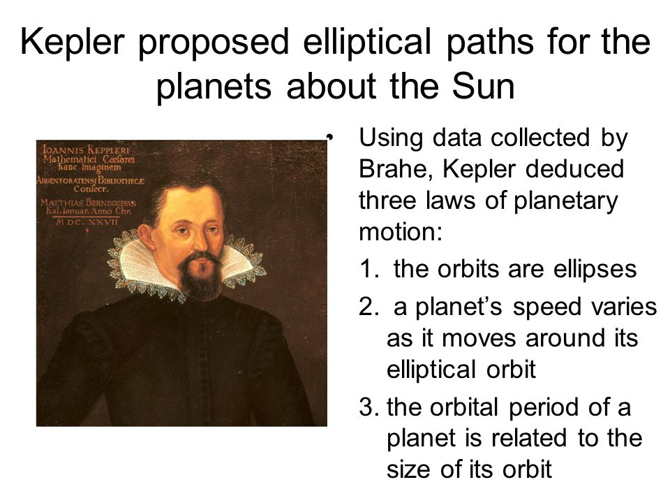 Kepler proposed elliptical paths for the planets about the Sun Using data collected by Brahe, Kepler deduced three laws of planetary motion: 1. the or
