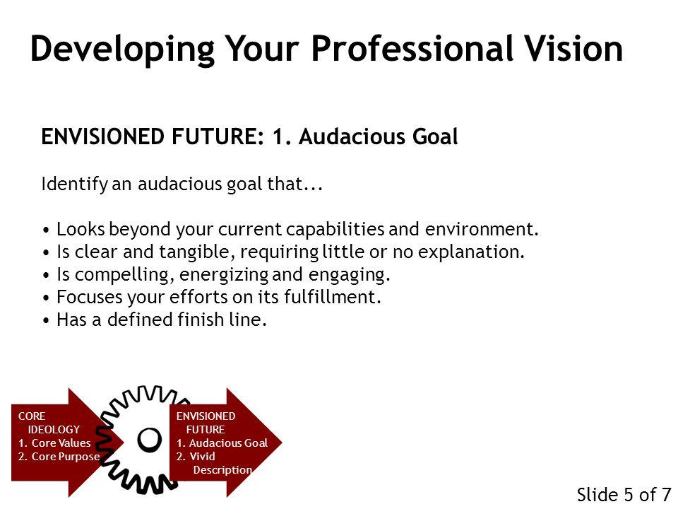 ENVISIONED FUTURE: 1.Audacious Goal Identify an audacious goal that...