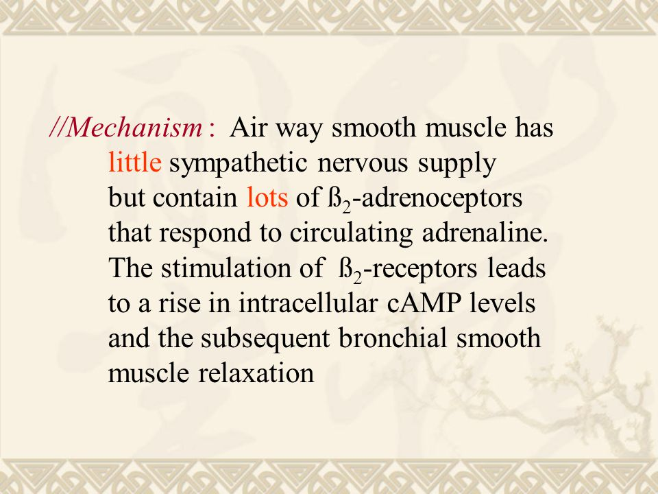 //Mechanism : Air way smooth muscle has little sympathetic nervous supply but contain lots of ß 2 -adrenoceptors that respond to circulating adrenaline.